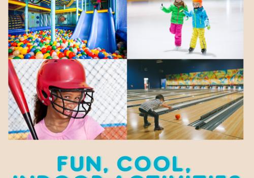 Indoor playground, ice skating, child batting, child bowling
