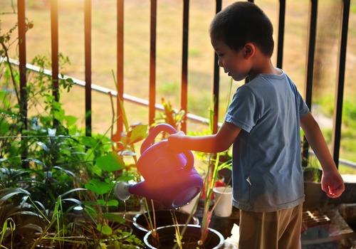 Garden kid child watering can