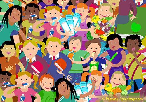 Cartoon of lots of diverse children