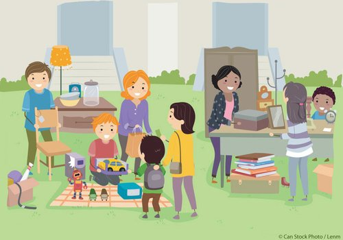 Families at yard sale