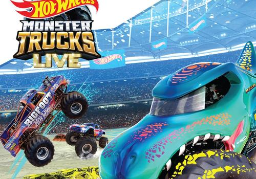From left to right 3 Hot Wheels Monster trucks in the air in the center of the area text in image Hot Wheels Monster Trucks Live