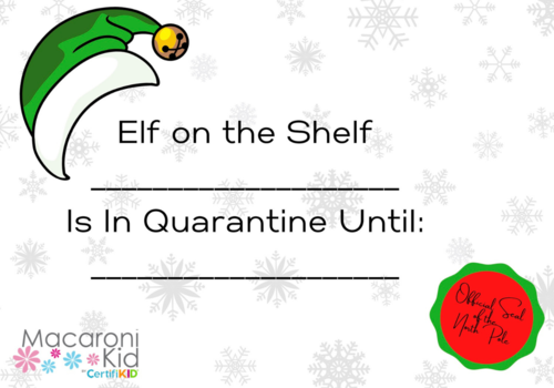Elf on the Shelf quarantine printable