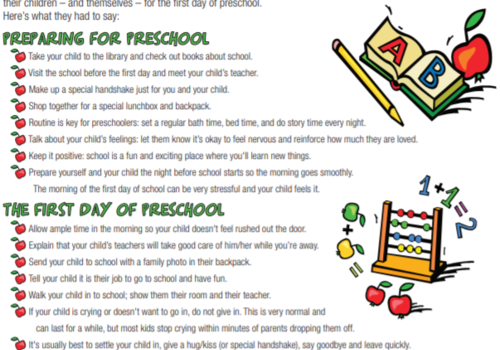 First Day Preschool After Hours Pediatrics