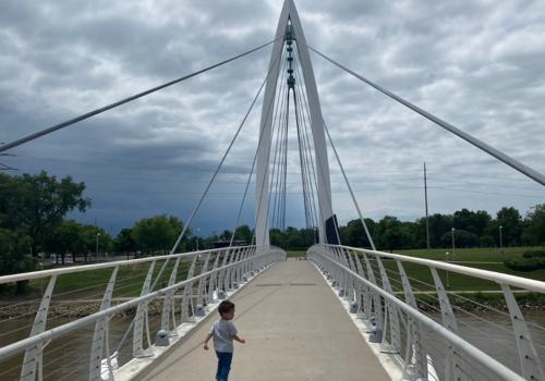 Jett, bridge, west wichita, Keeper of the Plains, river