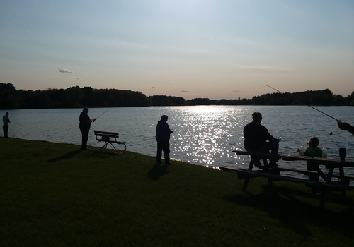 Sunset Family Fishing at Marion Pond