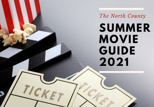 red and white striped bucket of popcorn with movie tickets text in image The north county summer movie guide 2021
