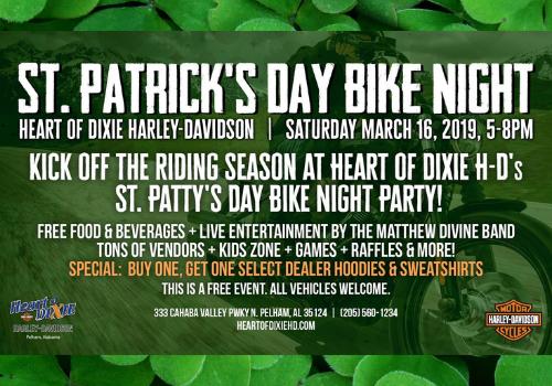 Family friendly St. Patrick's Day Bike Night at Heart of Dixie Harley-Davidson