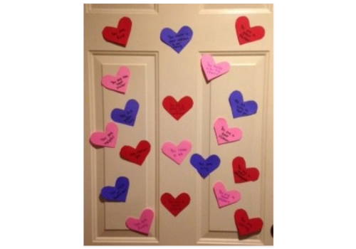 Valentine's Day Hearts on Door
