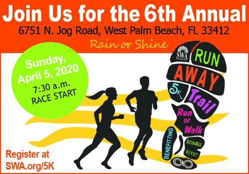 The Annual SWA Run AWAY 5K Trail Run will be held Sunday, April 5, 2020