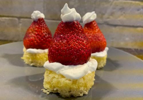santa hat snack strawberry pound cake