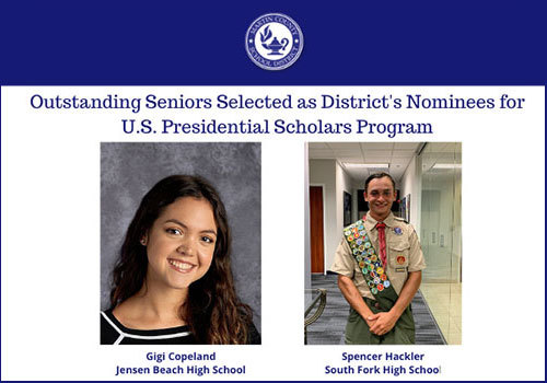 Martin County School District 2020 US Presidential Scholars Program Nominees