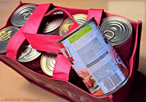 Bag of canned food