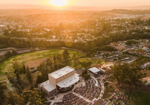 Birds Eye view of the Moonlight Amphitheatre with sunset in the horizon