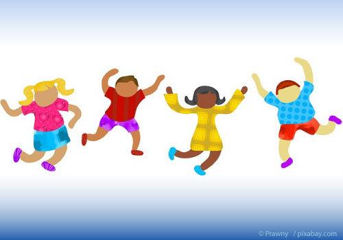 Cartoon kids with no face dancing