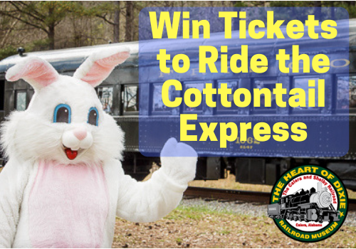 Win tickets to ride the Cottontail Express train at Heart of Dixie Railroad Museum. Egg hunt, meet the Easter bunny and more fun things to do with kids near Birmingham, Hoover, Alabaster, Al