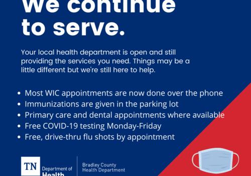 Open, Serving, Testing, Flu Shots