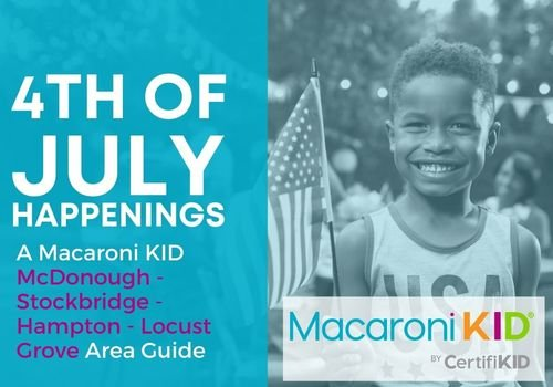Fourth of July Guide Happenings in McDonough Area Kid with a flag