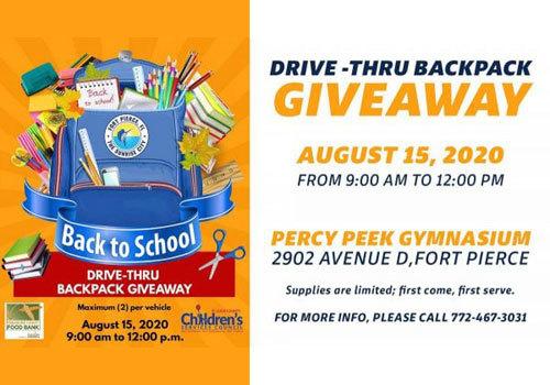 2020 Drive-Thru Backpack Giveaway
