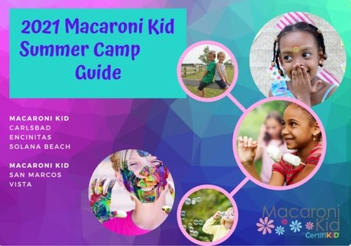 Children playing, smiling, blowing bubbles Text in image 2021 Macaroni Kid Summer Camp Guide