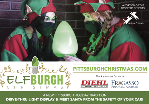 ELFBURGH Christmas a new pittsburgh holiday tradition drive thru light display and meet santa from the safety of your car