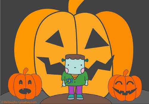 Halloween pumpkins and cute monster