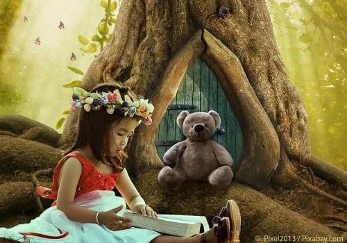 Girls Reading Book to stuffed bear in fantasy like world