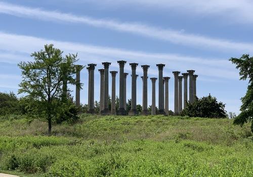 the old capitol building columns at the Arboretum