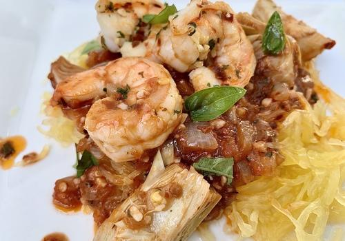shrimp diablo spaghetti squash basil onion summer dish