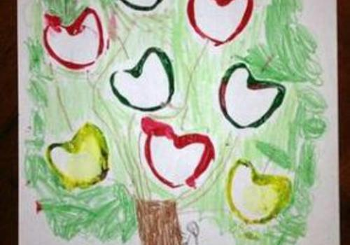 Create an Apple Stamp from Cardboard Tubes for kids