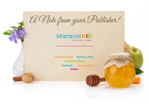 A Note from your Publisher, Macaroni KID Conejo Valley - Malibu: Thousand Oaks, Newbury Park, Westlake Village, Oak Park, Agoura Hills & Malibu.  A note card with purple flowers, cinnamon stick, walnut, jar of honey and a green apple
