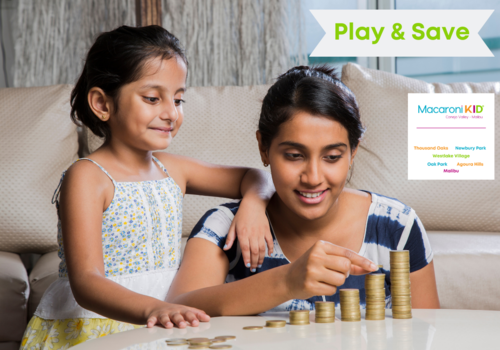 Mother with Kid stacking coins, play and save deals Macaroni KID Conejo Valley - Malibu