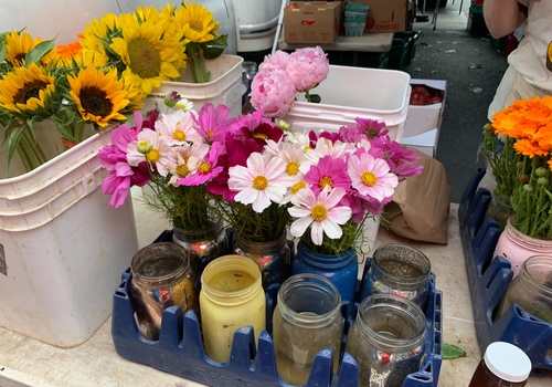 display of flowers for sale