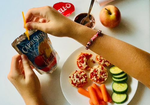 School Lunch Ideas Back to Learning Jello Capri Sun Bagel Bites