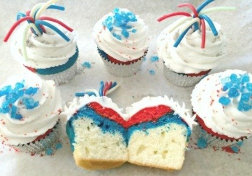 Red White and Blue Cupcakes for the 4th of July