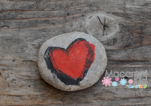 rock drawn on heart