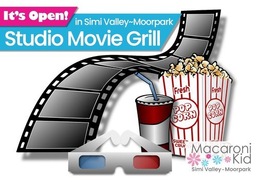 It's Open in Simi Valley or Moorpark: Studio Movie Grill. Image of 3-D movie glasses, movie film, popcorn and soda with straw