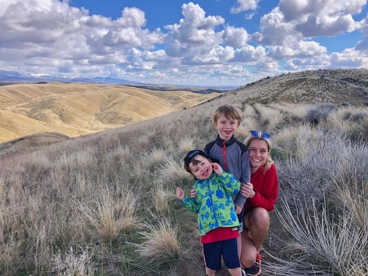 Macaroni Kid Meridian publisher with her 2 little boys in the foothills of Eagle, Idaho