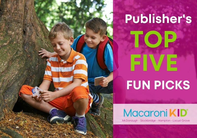 Publisher's Top 5 with an image of two boys geocaching in the woods