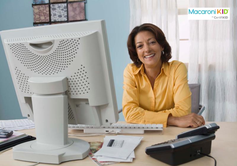 Woman working at desktop computer