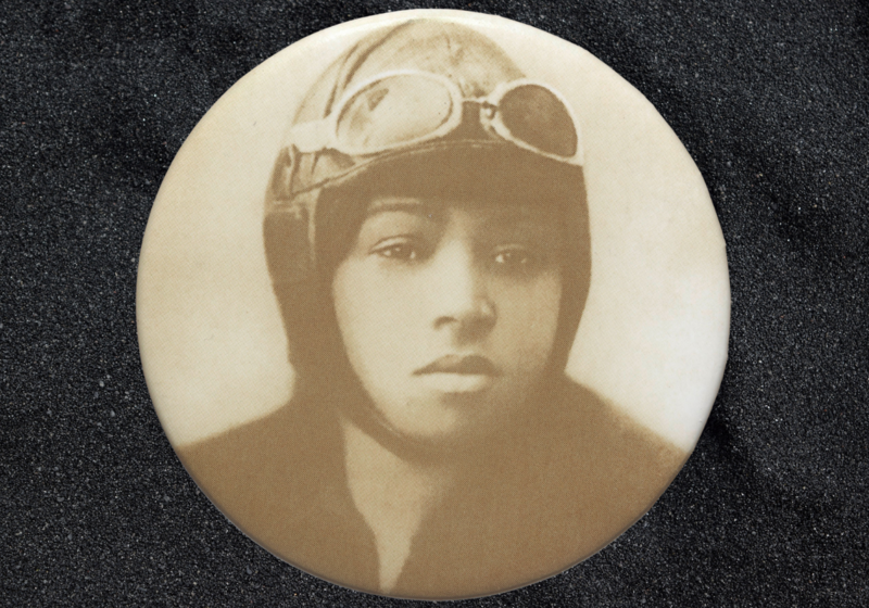 Pinback button featuring a portrait of Bessie Coleman