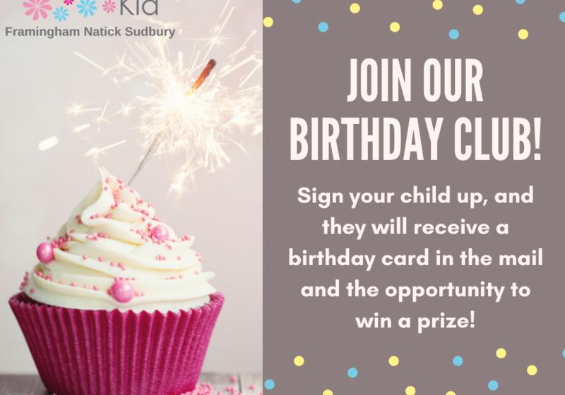 Macaroni Kid Framingham Natick Sudbury Birthday Club mailed birthday card for my child win a prize Launch Framingham