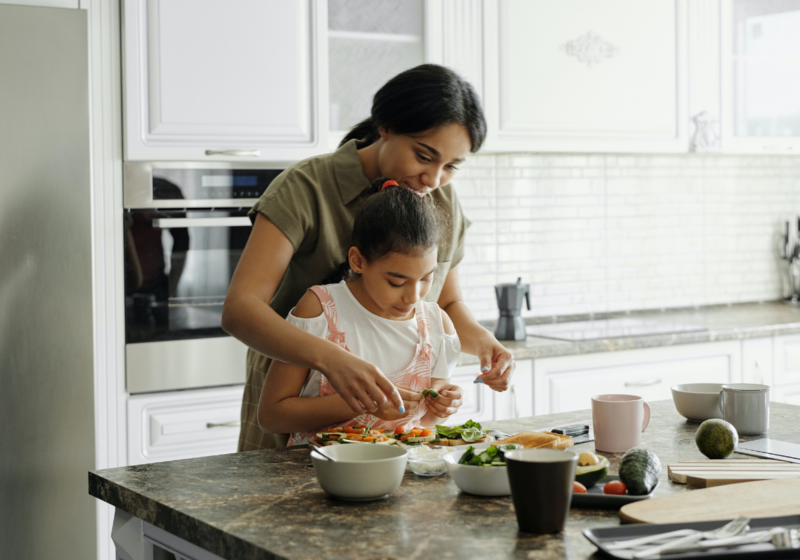 mom and daughter kitchen