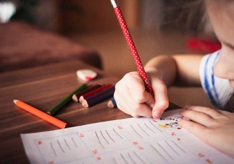 Child Working on School Work