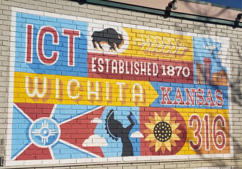 mural, Wichita, KS, Keeper of the Plains, sunflower, buffalo, flag, 316