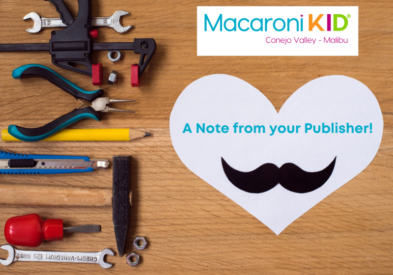 A Note from your Conejo Valley - Malibu Publisher! Wood background with tools and a paper heart with a mustache