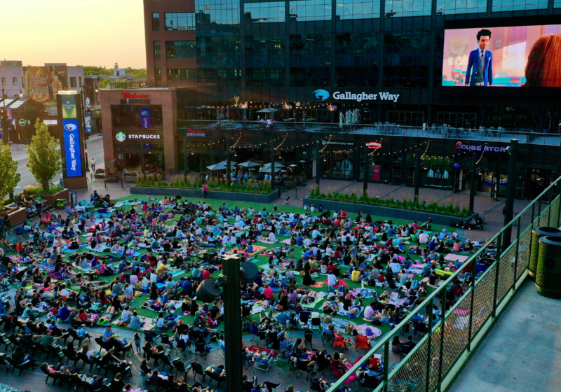 Crowd at an outdoor movie