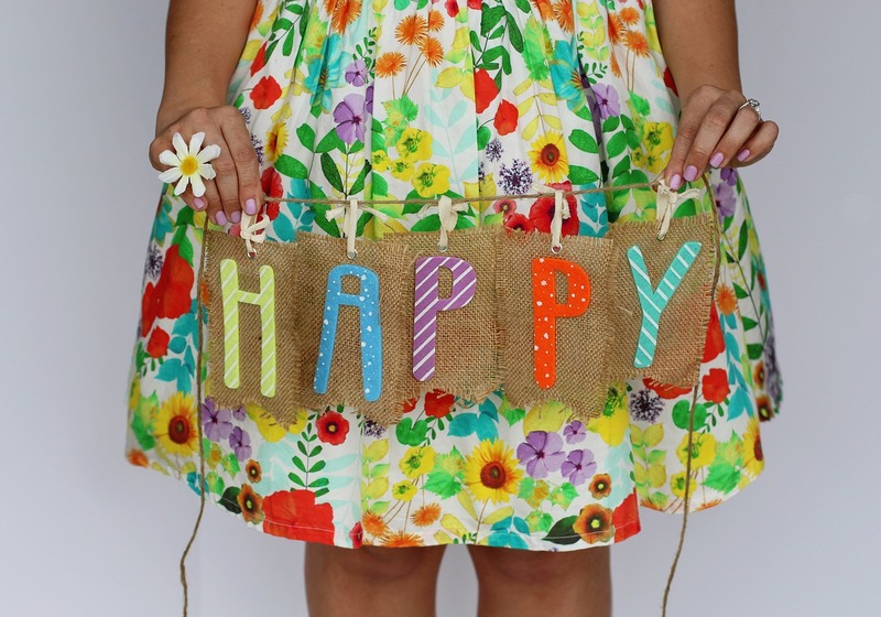 happy sign with spring dress