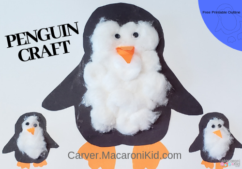 graphic relating to Penguins Printable Schedule identified as Puffy Penguin Craft with Printable Determine