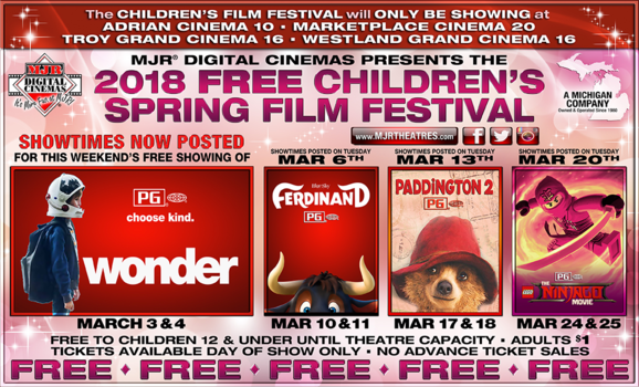 MJR FREE Children's Spring Film Festival- FREE and $1 movies ...