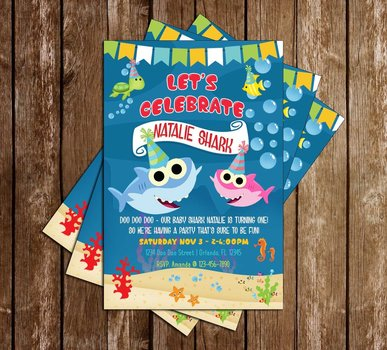 Image Credit Novelconceptdesigns Products Baby Shark Girl Birthday Party Invitation